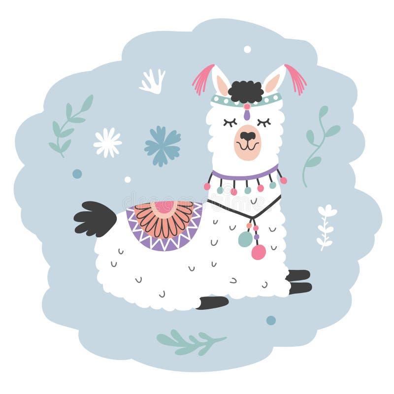 Lama tirado mão dos desenhos animados Alpaca bonito ilustração do vetor