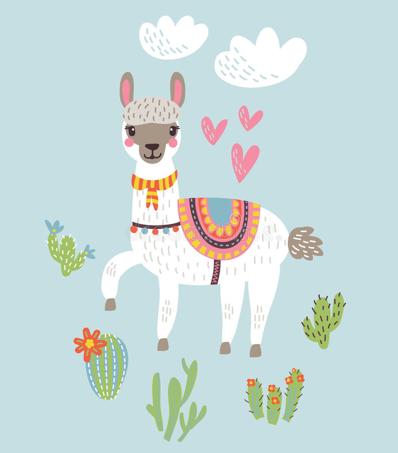 Free Lama Vector Background Royalty Free Stock Photography - 98861277