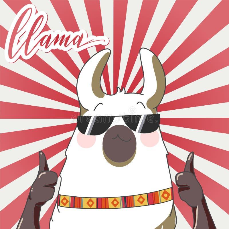 Lama w kreskówka stylu ilustracji