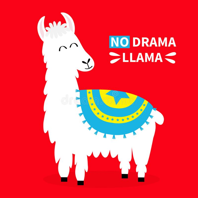 LamaAlpaca Ingen drama SAD framsida Rolig kawaii för gullig tecknad film som ler teckenet Barnsligt behandla som ett barn samling stock illustrationer