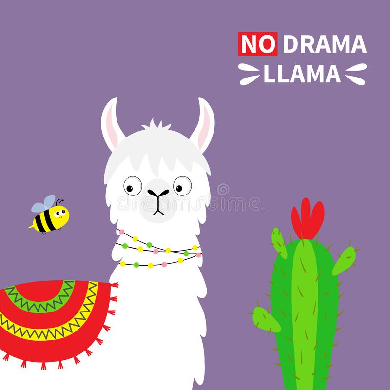 Lamaalpacaframsida, bi, kaktus Ingen drama Barnsligt behandla som ett barn samlingen Roligt kawaiitecken för gullig tecknad film  vektor illustrationer