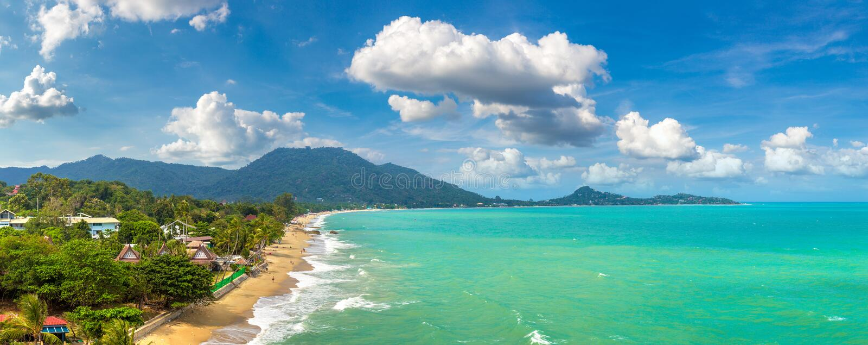 Lamai Beach on Samui. Panorama of Lamai Beach on Koh Samui island, Thailand in a summer day stock photography
