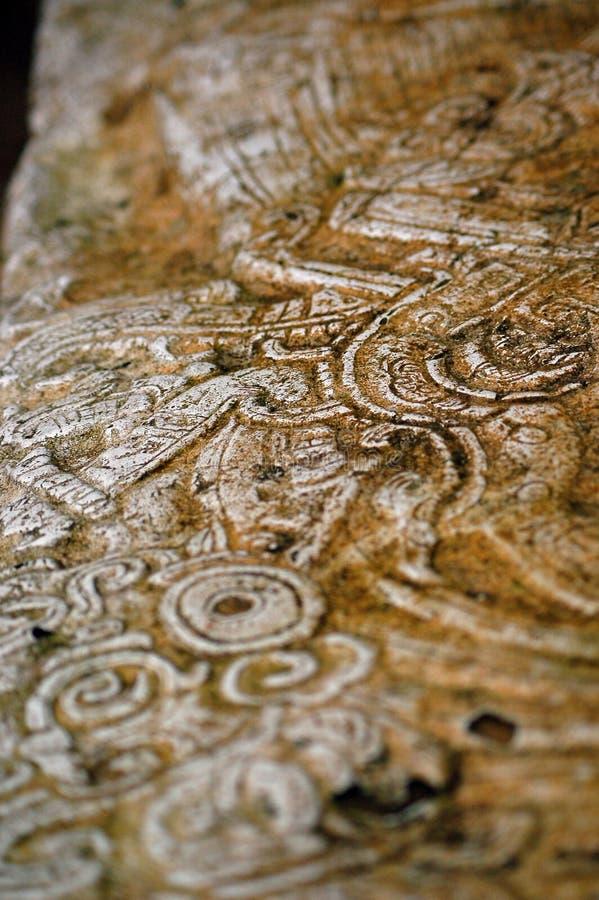Lamanai Stela Mayan Stone Carving imagem de stock