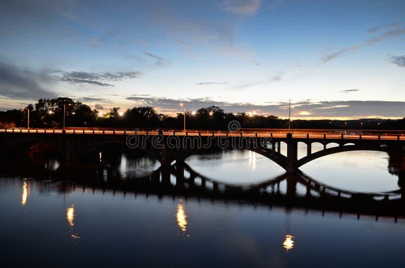 Lamar bridge in Austin during sunset. Lamar bridge in downtown Austin, Texas royalty free stock images