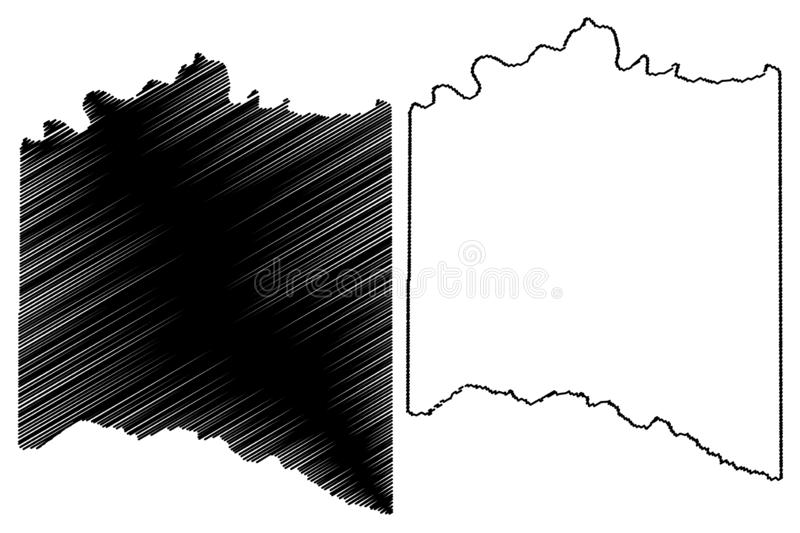 Lamar County, Texas Counties in Texas, United States of America,USA, U.S., US map vector illustration, scribble sketch Lamar map.  stock illustration