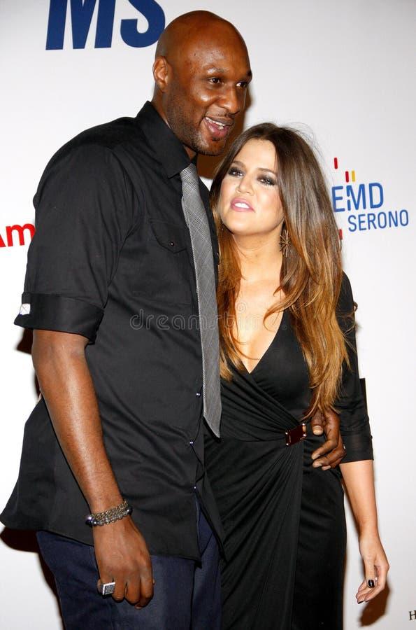 Lamar Odom en Khloe Kardashian royalty-vrije stock foto's