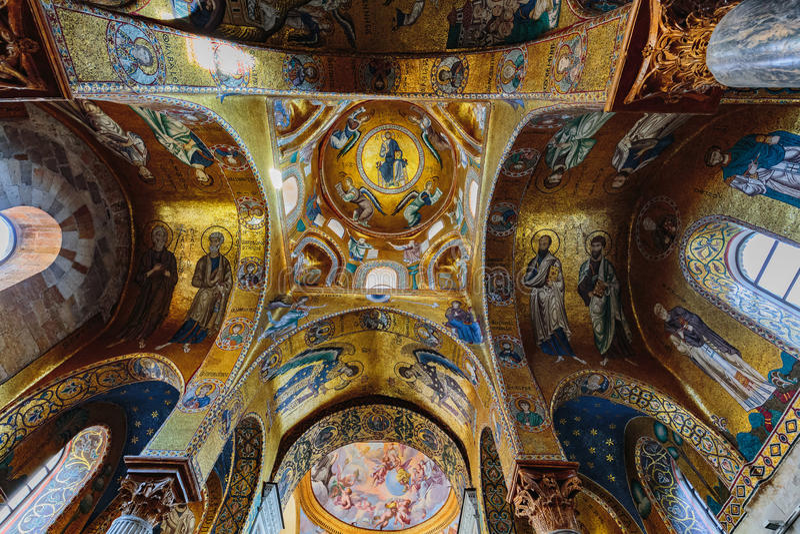LaMartorana kyrka i Palermo, Italien arkivfoton