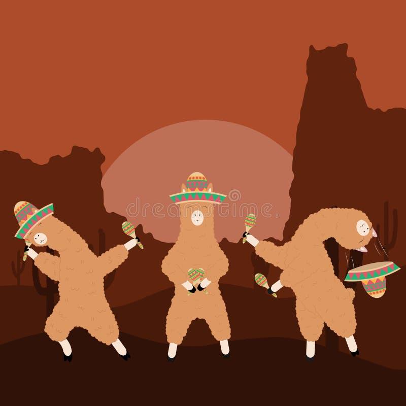 Lamas da dança em um chapéu mexicano com maracas imagem de stock royalty free