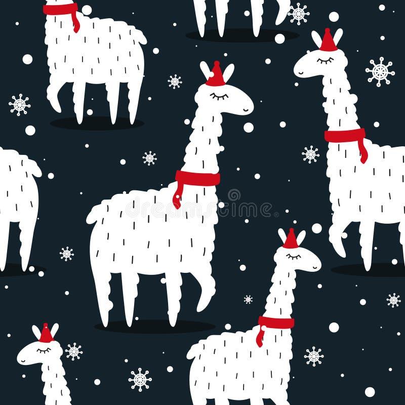 Llamas and snow, seamless pattern stock illustration