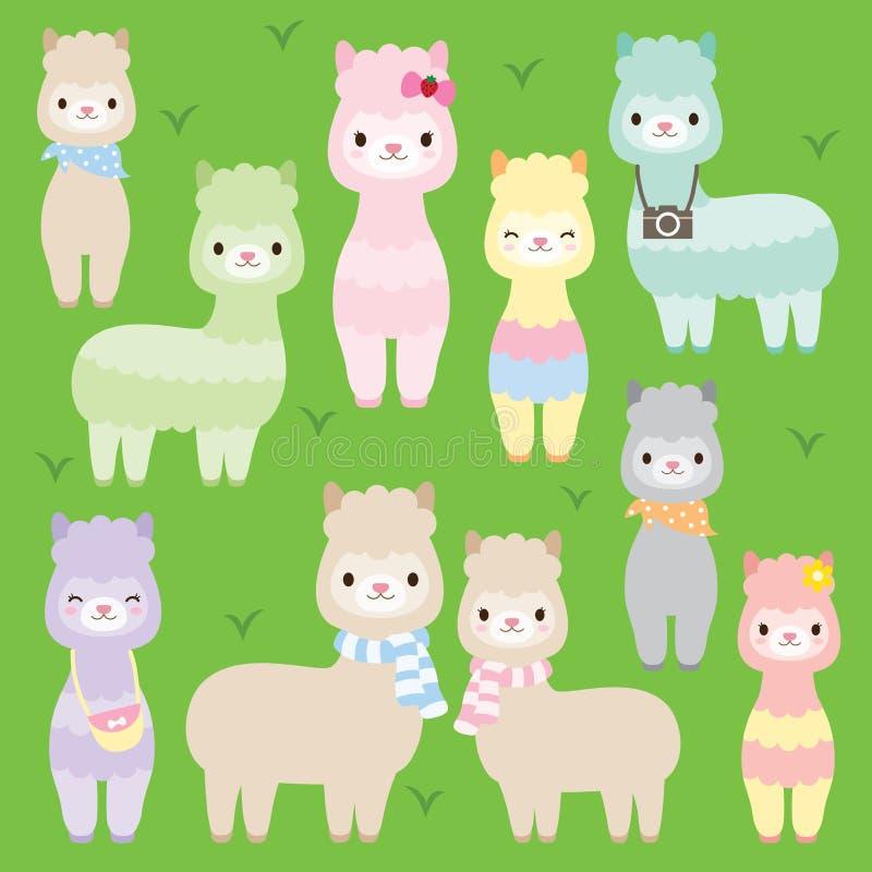 Lamas mignons d'alpaga illustration de vecteur