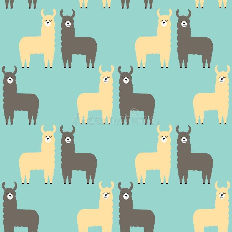Lamas sem emenda do teste padr?o C?pia na moda dos desenhos animados ilustração royalty free
