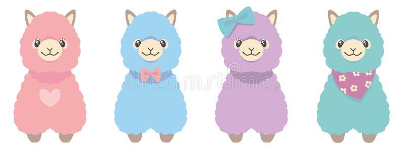 Lamauppsättning av fyra djura vektorillustrationer för olik fluffig pastellfärgad kulör alpaca royaltyfri illustrationer