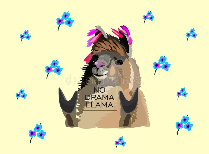 Lamavektorn klottrar på guling Ingen lama för miljardär för problama motivational rik stock illustrationer