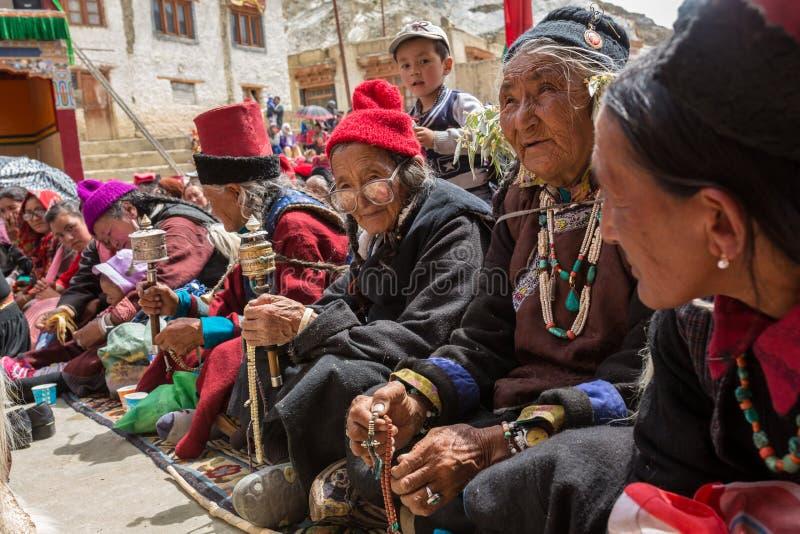 Unidentified ladakhi old ladies during buddhist festival at Lamayuru Gompa monastery, Ladakh, Northern India royalty free stock images