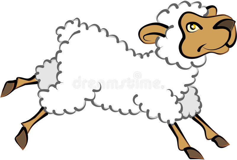 Lamb. Cartoon artwork in line-art for a lamb royalty free illustration