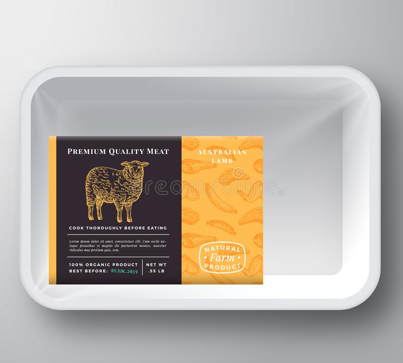 Lamb Abstract Vector Plastic Tray Container Cover. Premium Quality Meat Packaging Design Label Layout. Hand Drawn Sheep vector illustration