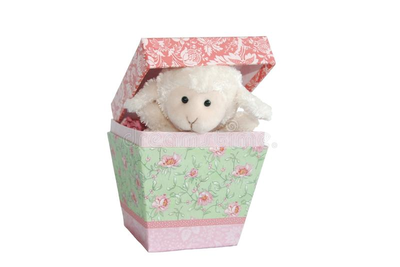 Lamb in the Box - Prepositional Phrases. Part of an educational series teaching about prepositions - illustrates in or inside royalty free stock image