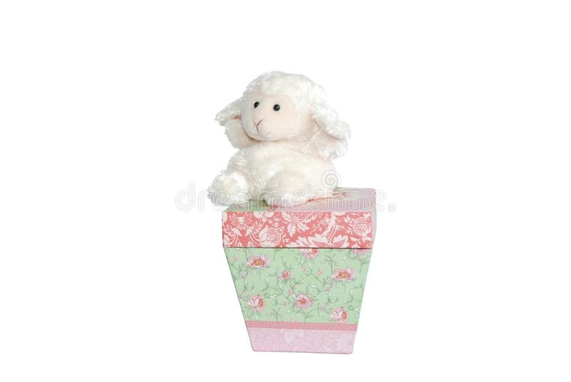 Lamb on the Box - Prepositional Phrases. Part of an educational series teaching about prepositions - illustrates on royalty free stock images
