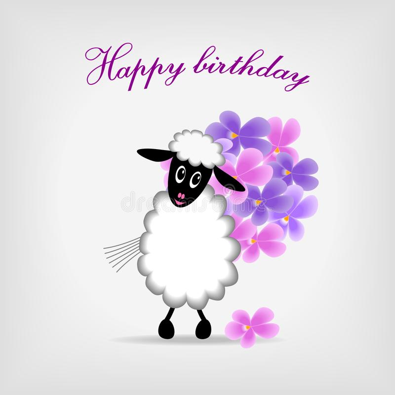 Lamb With Bunch Of Violet Flowers Stock Photography
