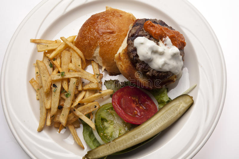 Lamb Burger on Plate royalty free stock photography