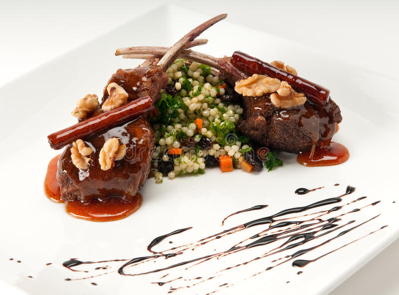 Download Lamb Chops stock image. Image of couscous, dish, caramel - 11005199