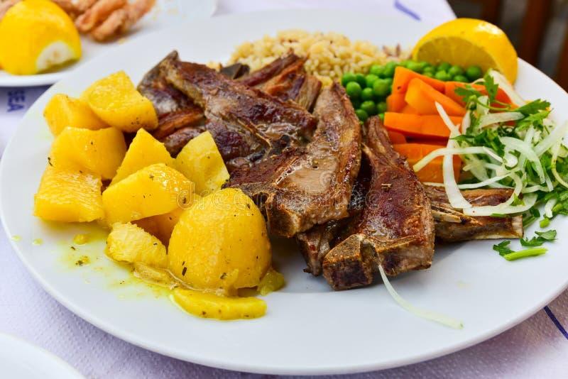 Lamb chops plate royalty free stock photo