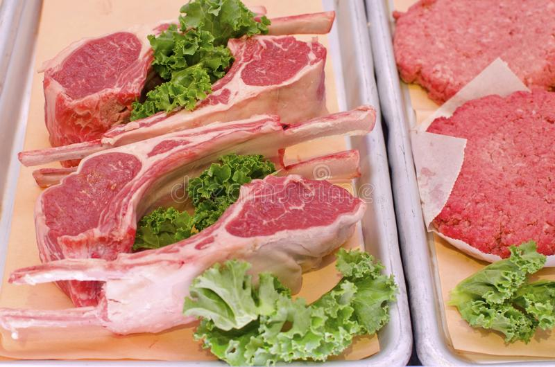 Lamb Chops. Raw lamb chops for sale at the butcher shop royalty free stock image