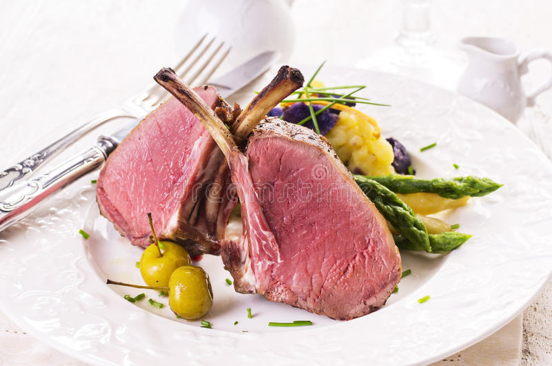 Lamb Cutlet with Asparagus stock photo