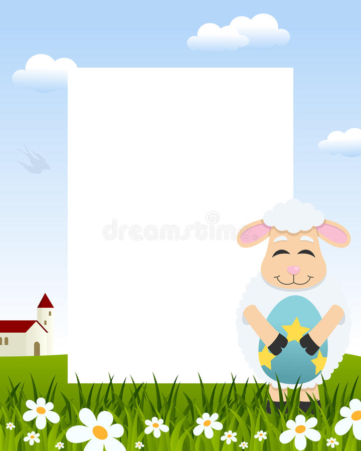 Lamb with Easter Egg Vertical Frame stock images