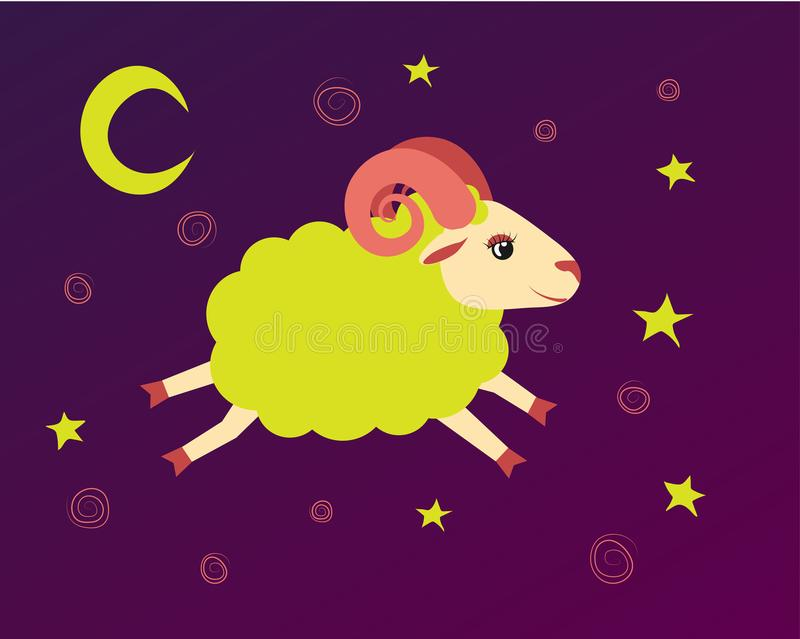Lamb flies in the starry sky between the stars. illustration baa-lamb symbol of a lullaby and bedtime vector illustration