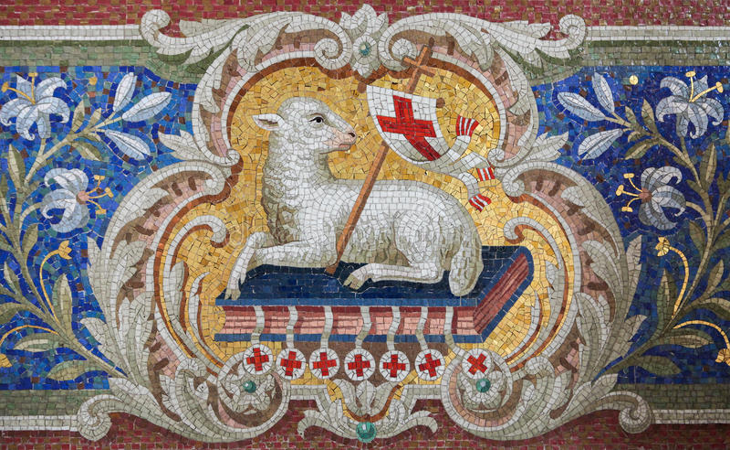 Lamb of God. (Agnus Dei) mosaic in the Martini church in Braunschweig, Niedersachsen, Germany stock photography