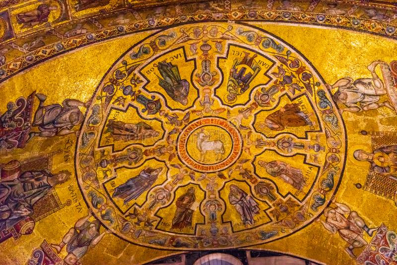 Lamb of God Bible Mosaic Dome Bapistry Saint John Florence Italy. Lamb of God Biblical Stories Mosaic Dome Bapistry Saint John Duomo Cathedral Church Florence stock photo