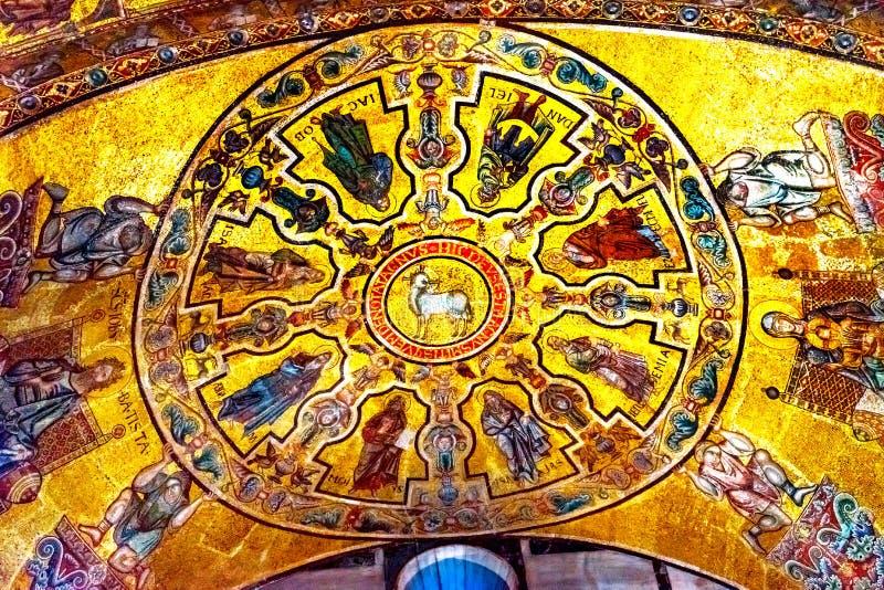 Lamb of God Bible Mosaic Dome Bapistry Saint John Florence Italy. Lamb of God Biblical Stories Mosaic Dome Bapistry Saint John Duomo Cathedral Church Florence royalty free stock photo