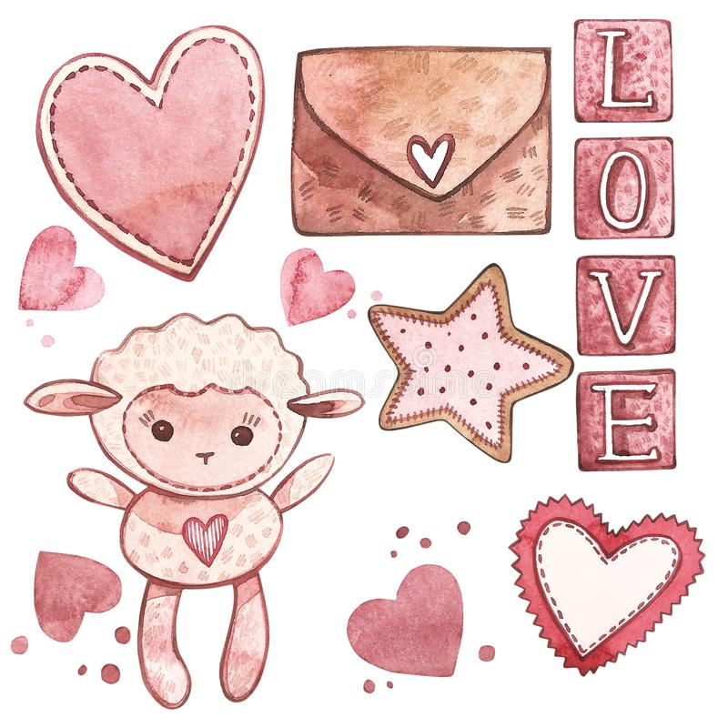 Lamb with hearts. Watercolor Pink set of elements for Valentine`s day. Scrapbook design elements. Typography poster. Card, label, banner design set vector illustration