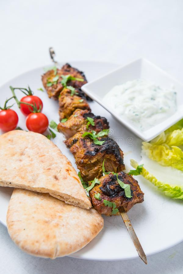 Lamb Kebab Pita Lettuce stock photo