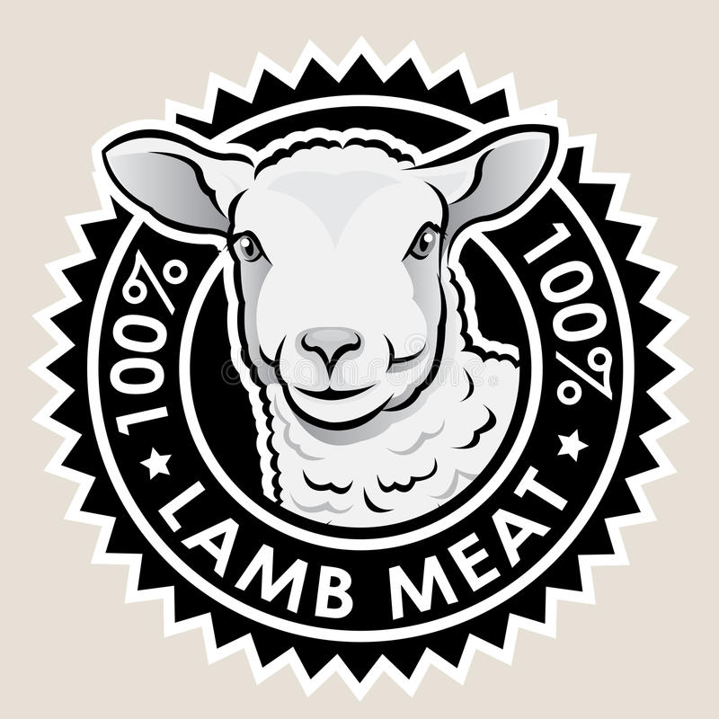 Lamb Meat 100%. Great seal certifying 100% Lamb Meat products royalty free illustration