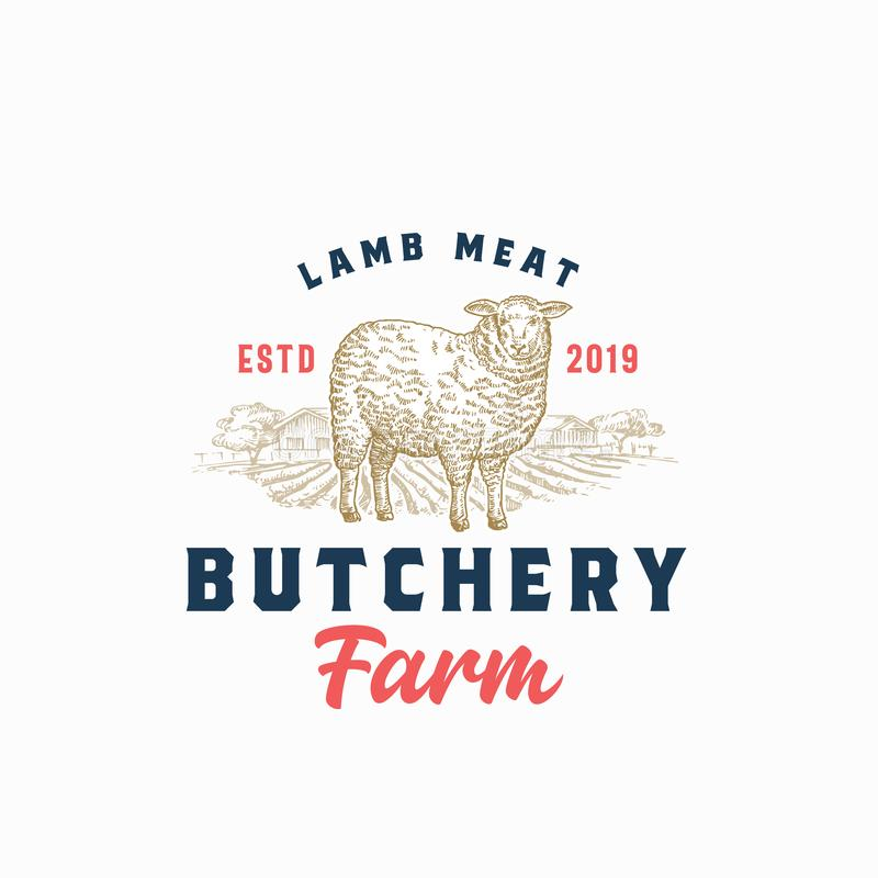 Lamb Meat Farm Retro Badge or Logo Template. Hand Drawn Sheep and Farm Landscape Sketch with Retro Typography. Vintage vector illustration