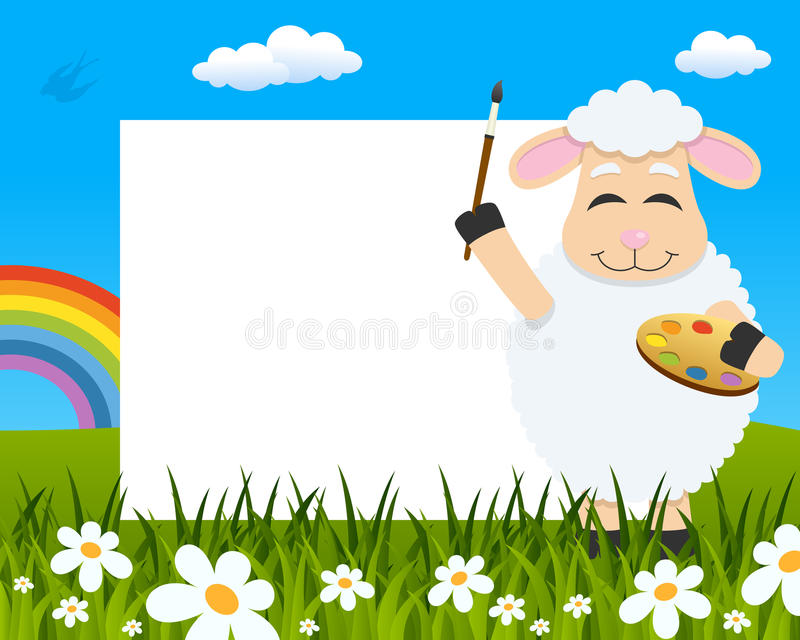 Lamb with Palette Easter Horizontal Frame stock photo