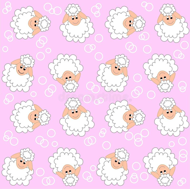 Lamb pattern seamless. Seamless lamb pattern on pink background stock illustration