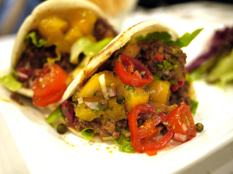 Lamb Pita Pockets. With Mango Chutney Sauce stock photography