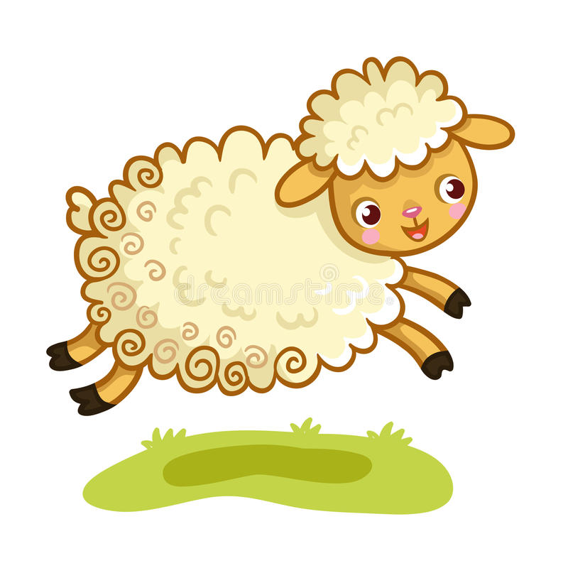 Lamb plays in the meadow. The animal jumps. Vector illustration royalty free illustration