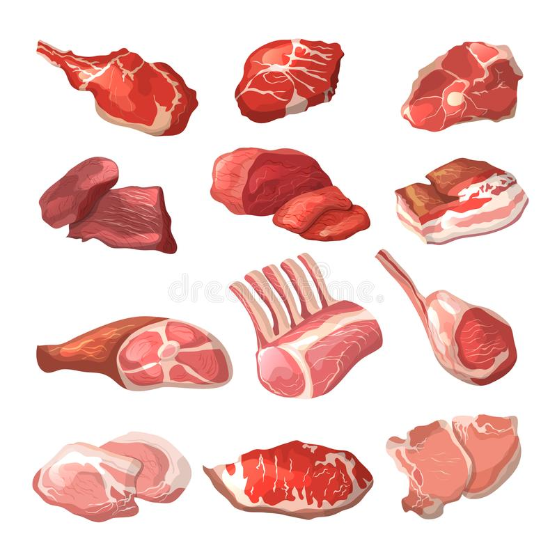 Lamb, pork beef, and other meat pictures in cartoon style. Steak of beef, raw pork meat. Vector illustration stock illustration