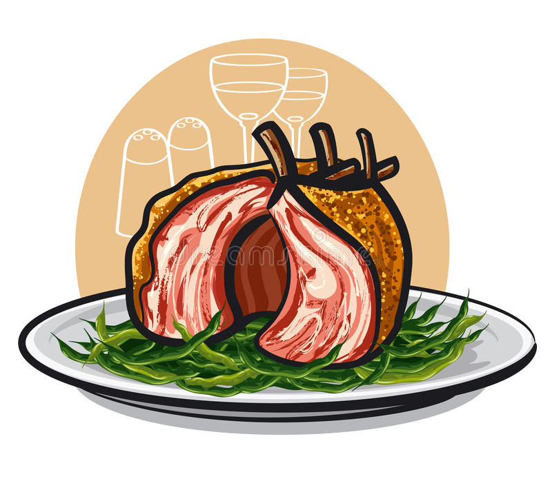 Download Lamb rack stock illustration. Image of juicy, bean, cutlets - 31139599