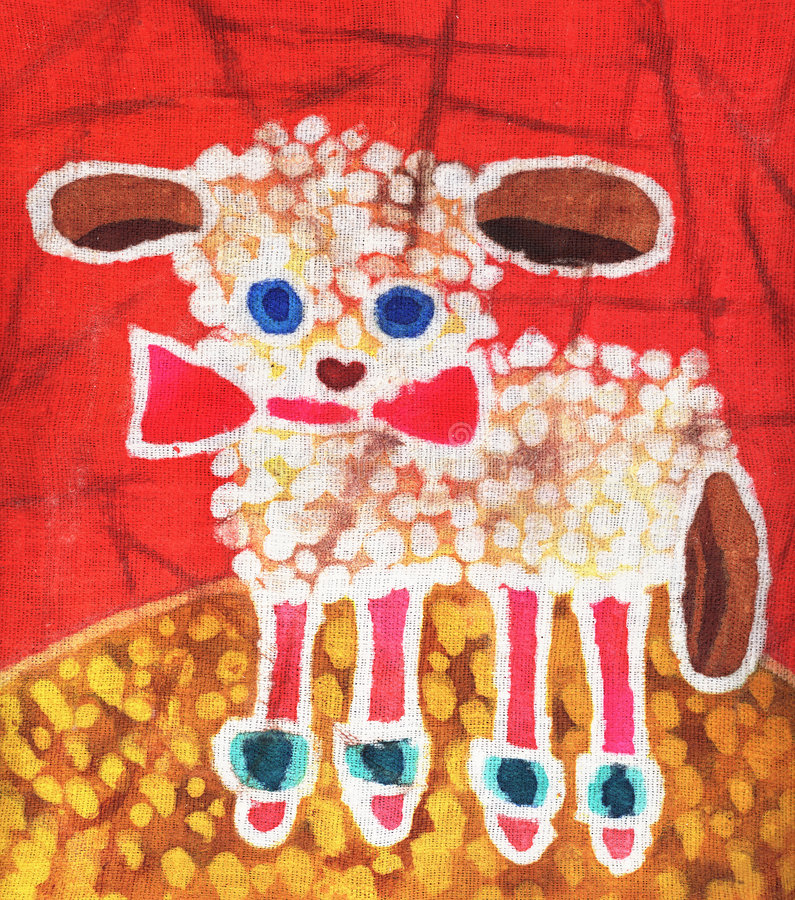 Lamb on red. Image of my artwork with a lamb on red royalty free illustration