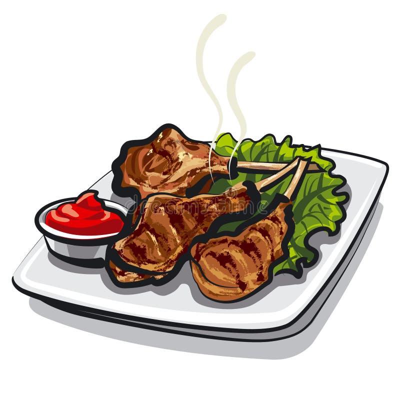 Lamb ribs. Illustration of the fresh hot lamb ribs vector illustration
