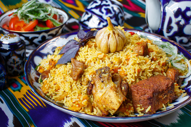 Lamb and rice traditional dish stock images
