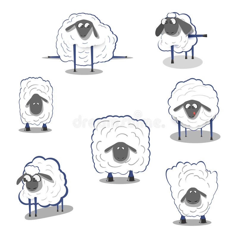 Lamb sheep icons. Sheep on a white background, icons doodles royalty free illustration