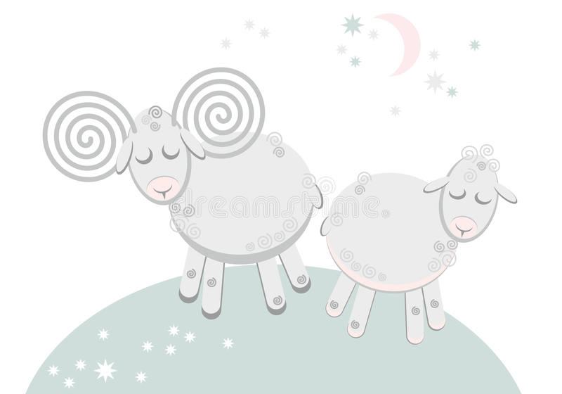 Lamb and sheep lovers who sleep royalty free stock images