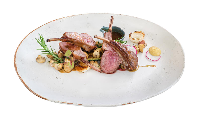 Lamb steak in ceramic dish isolated on white background, path. Lamb steak in ceramic dish isolated on white background, clipping path included royalty free stock image