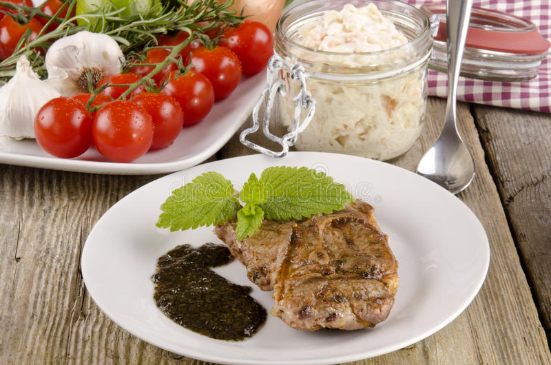Download Lamb steak with coleslaw stock photo. Image of salad - 24988152